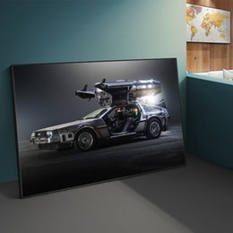 classic car painting Canada - Back To The Future Classic Movie Time Machine Car Posters And Prints Canvas Wall Art Painting Modern Home Decor Picture Gift