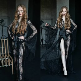 Discount long sleeve lace sleepwear Sexy Illusion Wedding Robes Long Sleeves Appliqued Lace See Through Night Gown For Women Ribbon Sweep Train Sleepwear