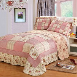 patchwork bedding sets Canada - Korea Plaid Cotton Bed Cover Patchwork Bedspread Quilted Queen Double Air Conditioning Summer Quilt Set Coverlet Blanket 3 Pcs T200901