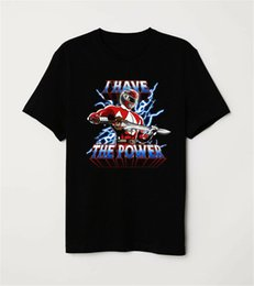 Он-Man Пародия Могучий Morphin Red Ranger I Have The Power Black T-Shirt ретро O шеи Tee Shirt