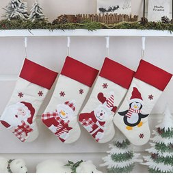 Discount santa christmas tree Santa Stockings Socks with Snowman Gift Candy Bags For Kids Hanging Christmas Tree Decoration Xmas Ornament Bags Party S