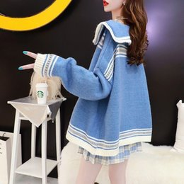 doll knitting NZ - DUgDZ Women's knitted Top Sweater Doll sweater 2020 early autumn new fashion all-match loose large size cardigan doll collar lazy style top