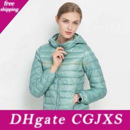 Wholesale packable down jacket resale online – Winter Jacket Women Ultra Light Down Jacket Women Hooded Coat Duck Down Jacket Packable Thin Feather Short Parka