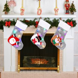 Discount led cloths Christmas LED Light Stocking Santa Elk Snowman Xmas Luminous Socks Xmas Tree Home Hanging Decorative Stocking Kids Gifts
