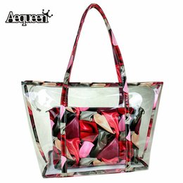 large plastic zipper bags NZ - AEQUEEN Women's Clear Transparent Handbags Plastic Candy Jelly Bag Set Beach Large Capacity Shoulder Bags Colorful Totes Purses MX200816