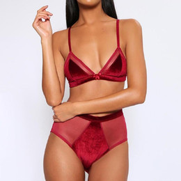 saw types NZ - See Through Velvet Underwear Three Point Type 2pcs Solid Color Condole Belt Bras Sets Sexy Women Mesh Bras Sets