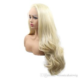 synthetic lace wigs free shipping UK - Free Shipping Long Blonde Natural Wave Synthetic Lace Front Wigs Glueless Side Parting Soft Heat Resistant Fiber Hair Long Wigs for Women