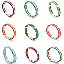 football decorations for party UK - Charm Punk Pu Leather Flag Bracelet For Women And Men 2018 Football Sport Knitted Bracelet Party Decoration gifts HH7-954 XKzL#