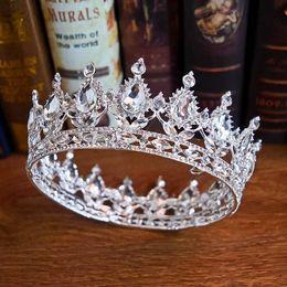 Wholesale Baroque Sparkling Beaded Crystal Rhinestone Adorned Bridal Crown New Bride S Headpieces Top Sale Head Tiaras Accessories Princess 2019