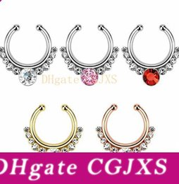 gold nose rings hoops Australia - Hot Crystal Nose Hoop Nose Rings Body Piercing Jewelry Fake Septum Clicker Non Piercing Hanger Clip On Women Body Jewellry Free Shipping Dhl