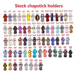 66colors Pattern Printing Chapstick Holder Keychain Handy Lip Balm Neoprene Holder Keychain Pouch For Chapstick Lipstick Novelty Gift on Sale