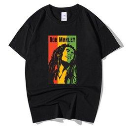 Wholesale t shirt bob marley for sale – custom Bob Marley Rock Hip Hop T Shirt Men Male Summer Plus Size Streetwear Casual Short Sleeve Round Neck Cotton Reggae Star T Shirt