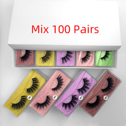 colorful eyelashes NZ - 3D False Eyelashes 30 40 50 70 100pair 3D Mink Lashes Natural Mink Eyelashes Colorful Card Makeup False In Bulk 10 Pairs