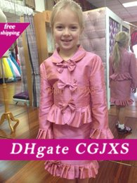 little girls pageant suits UK - Hot Sale Little Girls Interview Suits With Bows Ruched Long Sleeves Two Pieces Toddler Pageant Party Gowns
