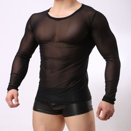 sexy white tight clothes UK - 5Vnie B104 Men's su shen fu tight body shaping clothing tight mesh long sleeve breathable round neck slim-fit perspective sexy mesh men's bo