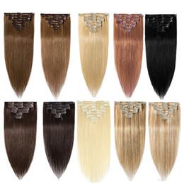 "Wholesale Human Hair Clip In Extensions 7pcs 14""-26"" Clip Ins Remy Human Hair Bundles 70g 100g 120g Machine Made Real Brazilian Natural Hair"