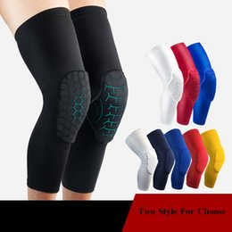 elastic knee sleeve support UK - Elastic Breathable Knee Pads for Football Basketball Volleyball Leg Long Sleeve Protector Sports Safety Calf Kneepad Support