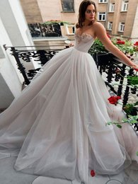 line wedding illusion neckline crystal sweetheart NZ - 2019 Wedding Dresses A Line Crystal Bead Sweetheart Neckline Tulle Bridal Gowns Elegant Boho Beach Formal Dress for Bride