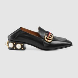 Wholesale europe fashion dresses for sale – plus size black white women Genuine Leather mid heel loafer Style Designers Dress shoes high quality Ladies fashion footwear lady formal shoes