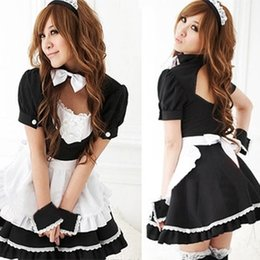 Wholesale plus size maid cosplay resale online - Cute black and cute code black and White code white maid outfit cosplay restaurant uniform cartoon maid outfit plus size