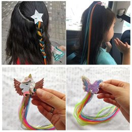 girls hair ponytail clips UK - Hair Extensions Wig For Kids Girls Ponytails Unicorn Head Bows Clips Bobby Pins Hairpin Barrette Hair Accessories 50pcs 0123