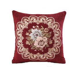 embroidered flower pillow cover UK - Vintage Pillow Case 45*45cm Chenille Embroidery Flower Sofa Cushion Cover Home Decoration Christmas Gift Car Throw Pillow Cover Pillowcase77