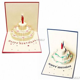 shipping thank card Australia - 3D Up Greeting Card Handmade Happy Birthday Cake Day Thank You Postcard G03 Drop Ship Card Email Card For Birthday From , $23.28| DHga HOtc#