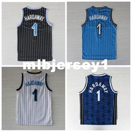 jersey basketball best UK - Best Quality Stitched #1 Hardaway Jersey Retro Blue White Black Cheap Men's Basketball Jerseys Embroidered Logos College
