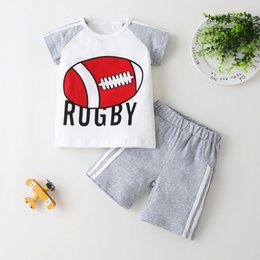Discount boys basketball pants 2020 Summer Children Sets Fashion Boys Short Sleeve O Neck Print Basketball Football Short Pants Cute Girls Clothes Sets
