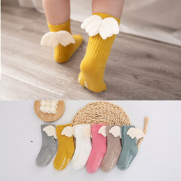 girls bow socks wholesale UK - Fashion Kids Baby Bow Socks Toddler Boys Girls Cotton Sock Solid Color Children Mid Long Tube Footsocks Anti-skide Cute Baby Footwear 2020