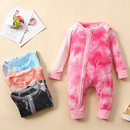 Wholesale zipper tie long for sale – winter Baby Girl Boy Jumpsuit Long Sleeve Infant Girl Princess Onesies Bodysuit Clothes Ins Tie Dye Romper With Zipper
