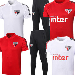 Wholesale red mens polo shirts resale online – 2021 Sao Paulo FC PATO Alves White Red Mens Short sleeve Club football Polo training suit shirt HERNANES Sao Paulo warm up tracksuits