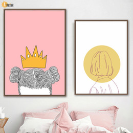 painting crown NZ - Abstract Girl Yellow Crown Woman Wall Art Canvas Painting Nordic Posters And Prints Wall Pictures For Living Room Bedroom Decor