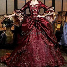 medieval dress ball Australia - Medieval Style Burgundy Quinceanera Dresses Bell Sleeve Taffeta Lace Ball Gown Classical Prom Dresses 2020 Masquerade Formal Party Gowns