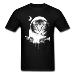 tee shirt cat Australia - Men Plain Tees Summer Autumn 100% Cotton Tshirts Short Sleeve Moonfall Space Cat Funny Print T Shirt Men Tops & Tees Wholesale