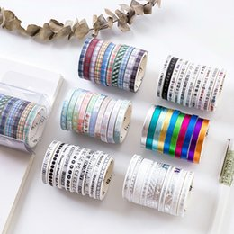 wholesale japanese stationery Australia - 10Rolls Set Slim Kawaii Japanese Stationery Laser Scrapbooking Foil Washi Tape Masking Tape Decorations for Stationery Supplies T200229 2016