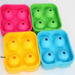 sphere plastic wholesale NZ - 4 Hole Ice Cube Ball Drinking Wine Tray Round Maker Mold Sphere Mould Party Bar Silicone Ice Hockey Maker Bar Accessories KKA7746