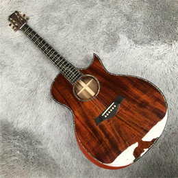 Toptan Özelleştirilmiş Taylor SP14 Tüm Koa Akustik Gitar, Kakma Abalone Gerçek Abanoz Klavye, Katı Koa Akustik Gitar, 20200601