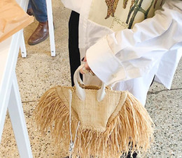 2019 New Spring Summer Women Bags Tassels Natural Straw Paper Single Chain Cross Body Small Packages Vacation68
