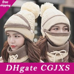 wool scarf hat UK - Balaclava Knitted Hat Scarf Neck Warm Knitted Winter Hat For Women Girl Wool Beanies Skullies Bonnet Fashion Femme Scarf Hats Mask Bh2277 Cy