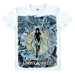 Ghost In The roupa de manga curta Marca Unisex Camiseta t-shirt Shell Top Men Camiseta