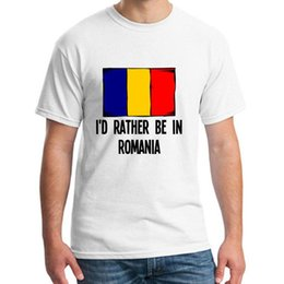 Wholesale romania online – design Graphic Id Rather Be In Romania Tee Shirt For Men Short Sleeve Casual Leisure Women T Shirts Round Neck Outfit