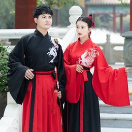 Wholesale ancient wedding dresses for sale - Group buy FgHoG Chinese Wedding dress Costume ancient costume men s ancient Chinese style black and red style big sleeve red wedding dress for lovers