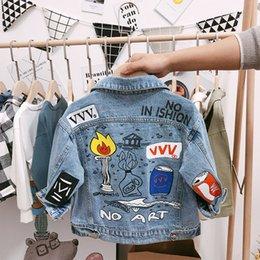 Wholesale down jean resale online – Children s Denim Jackets Boys Trench Jean Jackets Girls Kids clothing baby coat Casual outerwear Windbreaker Spring Autumn Y T200104