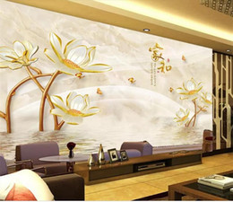 hotel chinese painting NZ - Custom Size 3D Photo Wallpaper Living Room Mural Embossed Flowers Chinese Painting Sofa TV Backdrop Home Decor Creative Hotel Study Wallpape