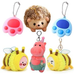 plush toy bee wholesale NZ - Cute Cartoon Animal Plush Toy Keychain Backpack Keychain Powder Hippo Hedgehog Yellow Little Bee Cat Paw Print Plush Toy Gifts