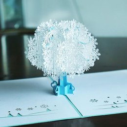 dimensional birthday cards 2021 - 3D Merry Christmas Greeting Card Handmade Retro Paper Cut -Up White Snowflake Three-Dimensional Tree Postcard Birthday C