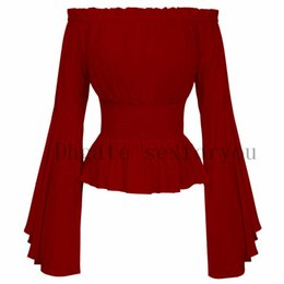 Wholesale renaissance costumes women for sale – halloween Women Girls Gothic Renaissance Shirt Medieval Retro top Costume halloween long sleeve solid color Role Playing Costume