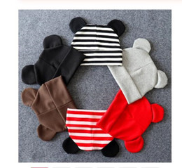 Discount newborn baby boy baseball caps Baby Hat With Ears Cotton Warm Newborn Accessories Baby Girl Boy Autumn Winter Hat For Kids Infant Toddler Beanie Cap Gi