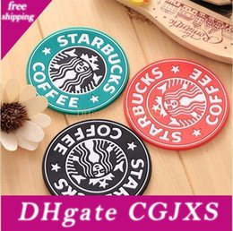 pink silicone coasters UK - Classic Silicone Coasters Starbucks Cup Sea -Maid Coffee Coasters Cup Mat Circular Antiskid Coasters Heat Insulation Pads Coffee Cups Mats